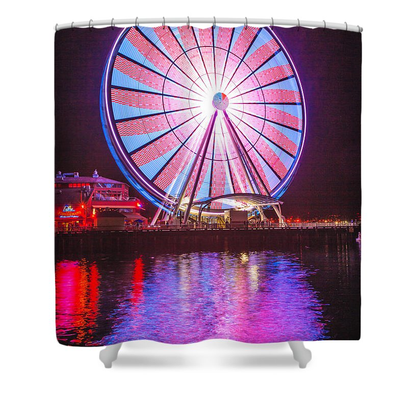 Seattle Shower Curtain featuring the photograph Seattle Great Wheel 2 by Mike Penney