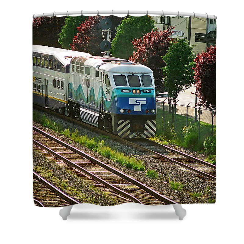 Trains Shower Curtain featuring the photograph Seattle Sounder Train by Randy Harris