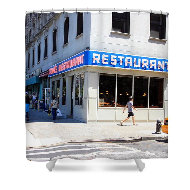 Seinfeld Shower Curtain featuring the photograph Seinfeld Diner Location by Valentino Visentini