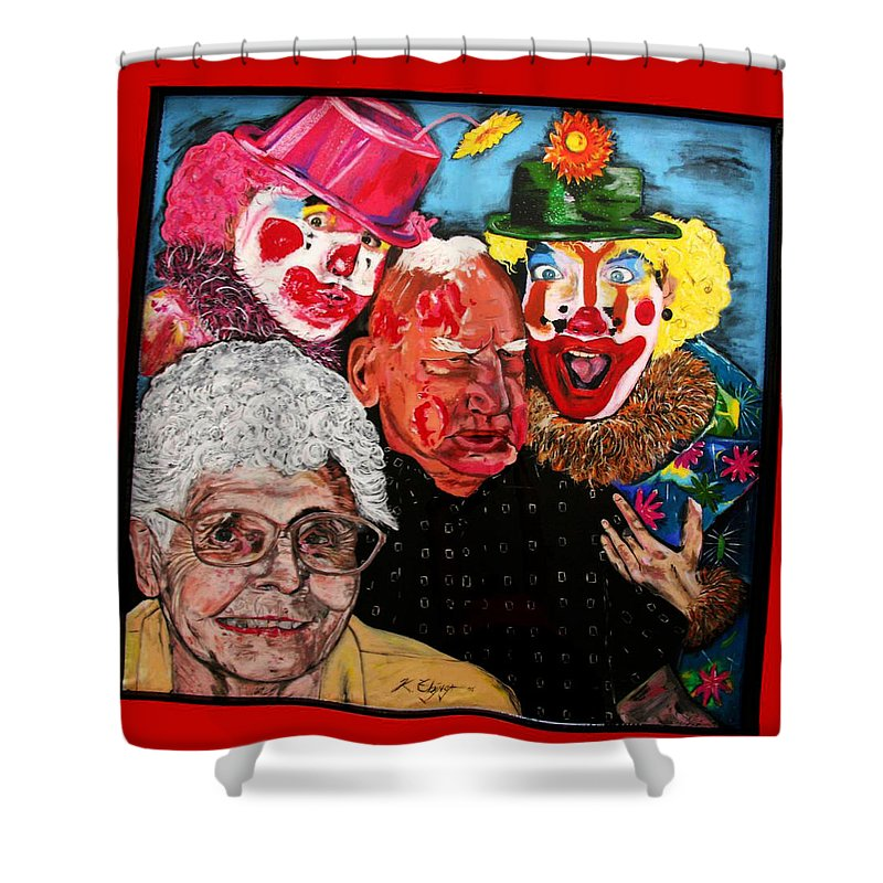 Old People Shower Curtain featuring the painting Send In The Clowns by Karen Elzinga