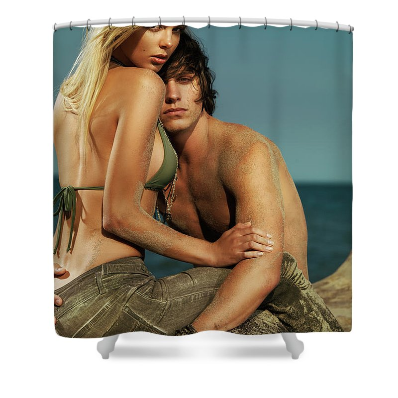 Couple Shower Curtain featuring the photograph Sensual Portrait Of A Young Couple On The Beach by Oleksiy Maksymenko