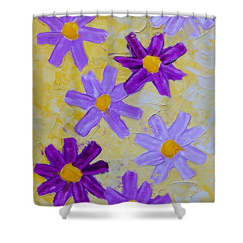 Abstract Shower Curtain featuring the painting Seven Flowers by Heidi Smith