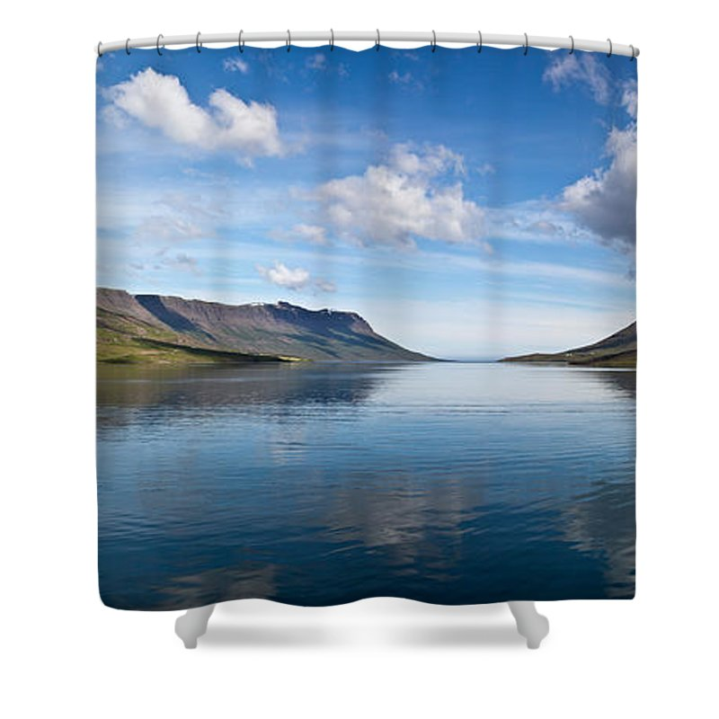 Iceland Shower Curtain featuring the photograph Seydisfjordur Fjord by Greg Dimijian