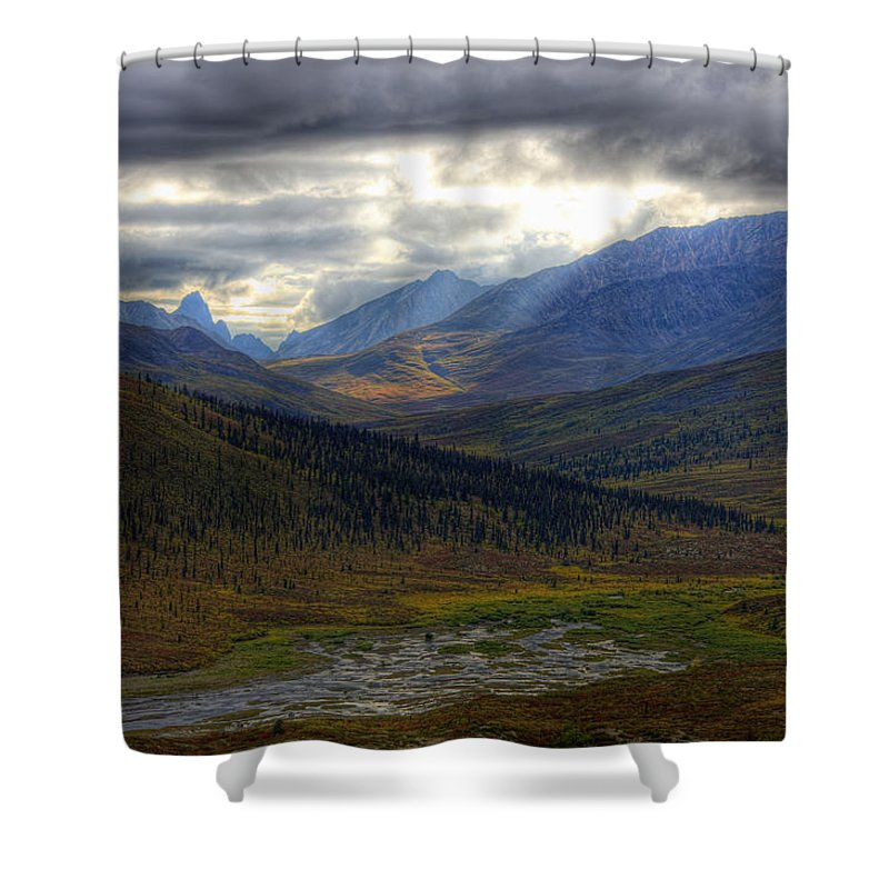Light Shower Curtain featuring the photograph Shaft Of Sunlight Hitting The North by Robert Postma