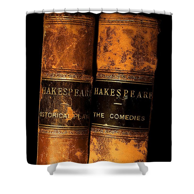 Book Shower Curtain featuring the photograph Shakespeare Leather Bound Books by The Irish Image Collection