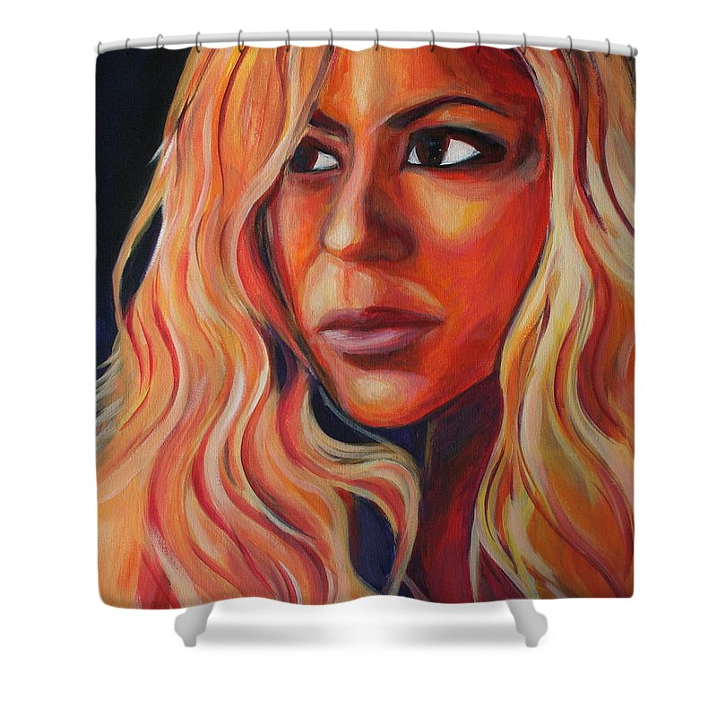 Shower Curtain featuring the painting Shakira by Kate Fortin