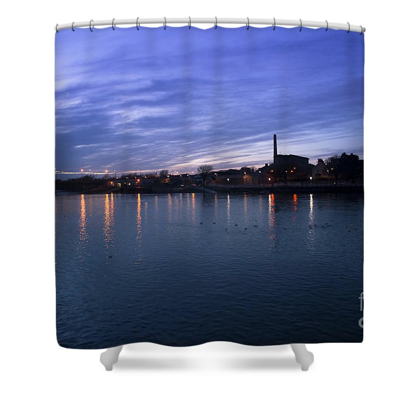 Eire Shower Curtain featuring the photograph Shannon River Estuary At Limerick by Andrew Michael