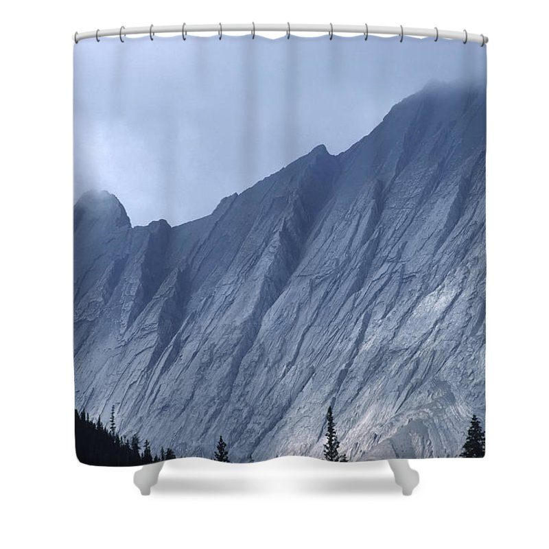 Alberta Shower Curtain featuring the photograph Sheer Mountain Face by Roderick Bley