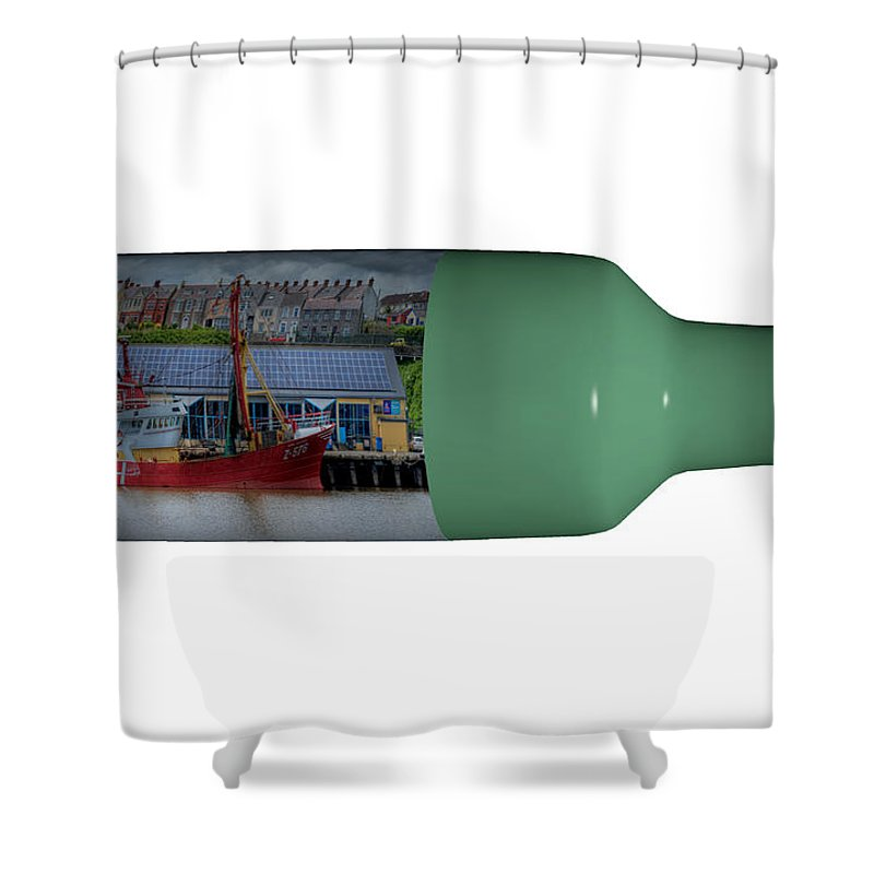 3d Shower Curtain featuring the photograph Ship On A Bottle With White by Steve Purnell