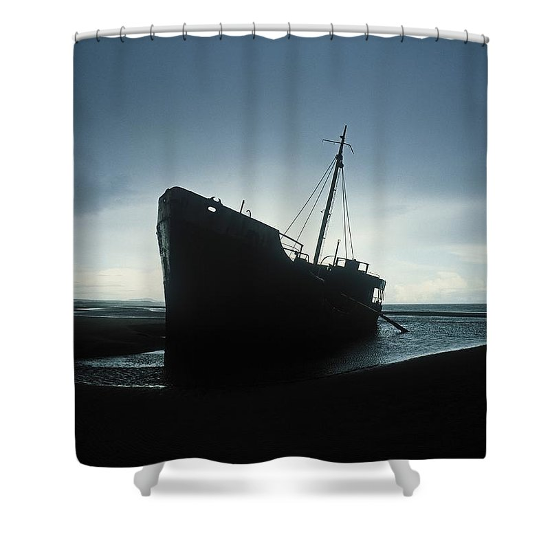 Deserted Shower Curtain featuring the photograph Shipwreck At Baltray Beach, Co Louth by The Irish Image Collection
