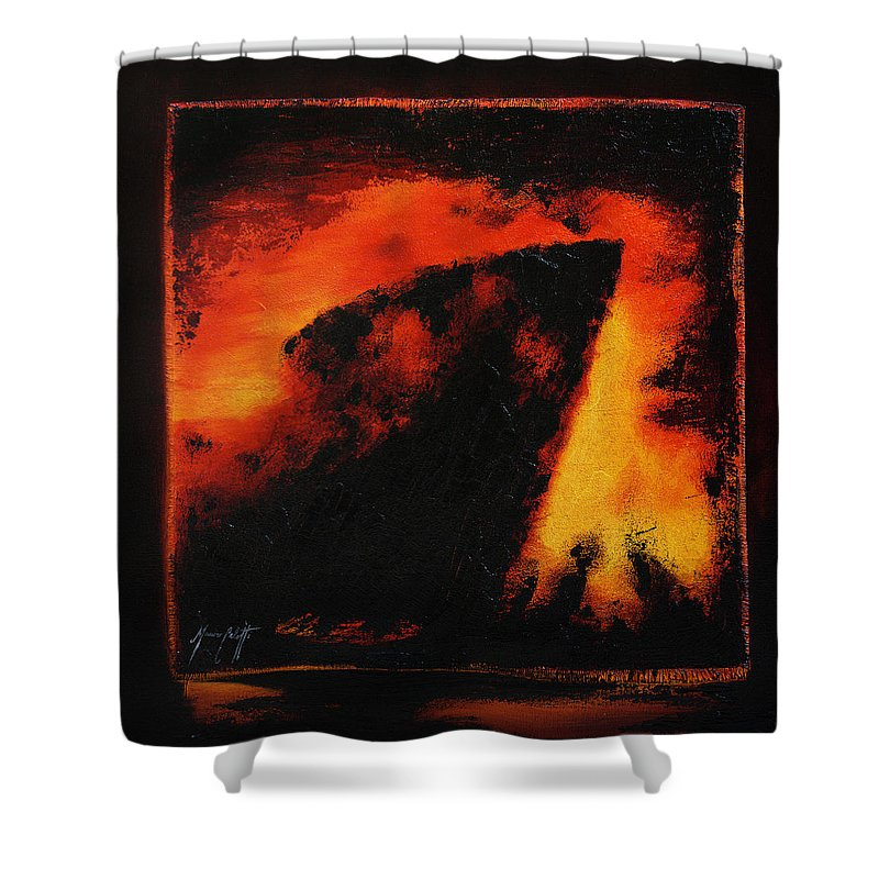 Art Shower Curtain featuring the painting Shipwreck by Mauro Celotti