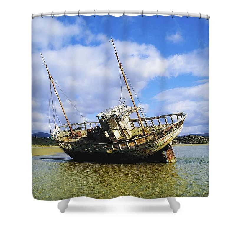 Beach Shower Curtain featuring the photograph Shipwrecks, Bunbeg, Co Donegal by The Irish Image Collection