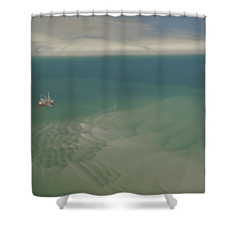 Europe Shower Curtain featuring the photograph Shrimp Boat Hovers Above Rippled Sand by Norbert Rosing