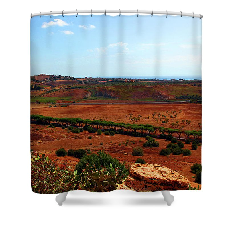 Sicily Shower Curtain featuring the photograph Sicilian Landscape by Madeline Ellis