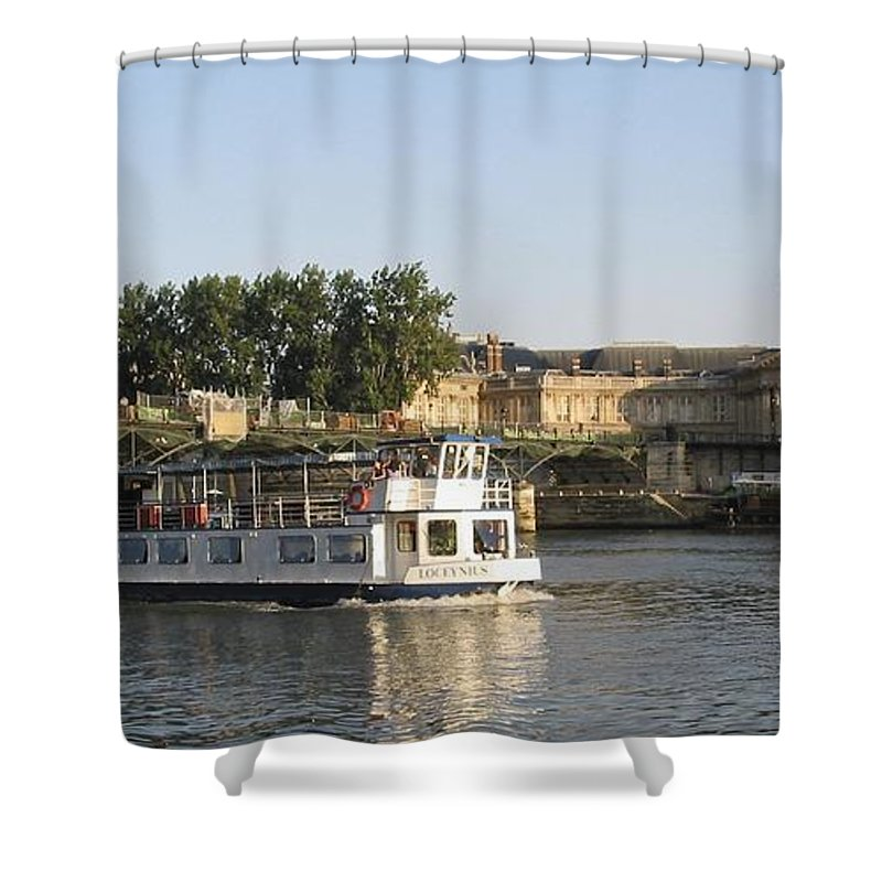 France Shower Curtain featuring the photograph Sightseeing Boat On River Seine. Paris by Bernard Jaubert