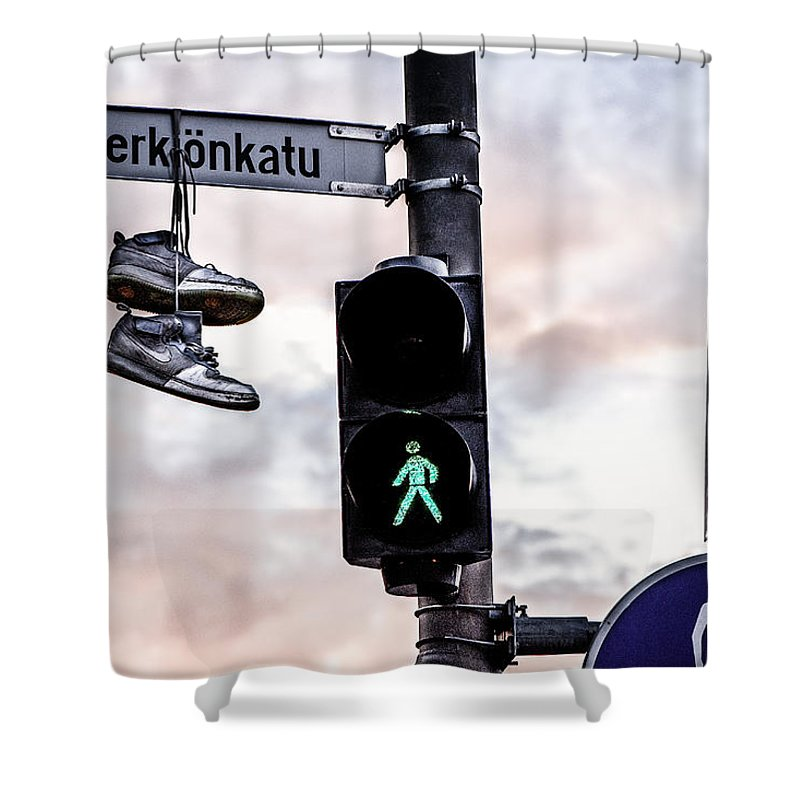 Hanging Shower Curtain featuring the photograph Signs And Shoes by Ari Salmela