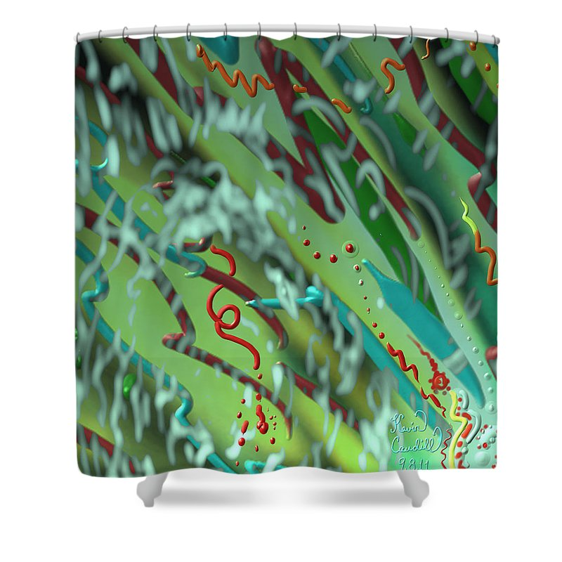 Waves Shower Curtain featuring the mixed media Signs Of Life by Kevin Caudill