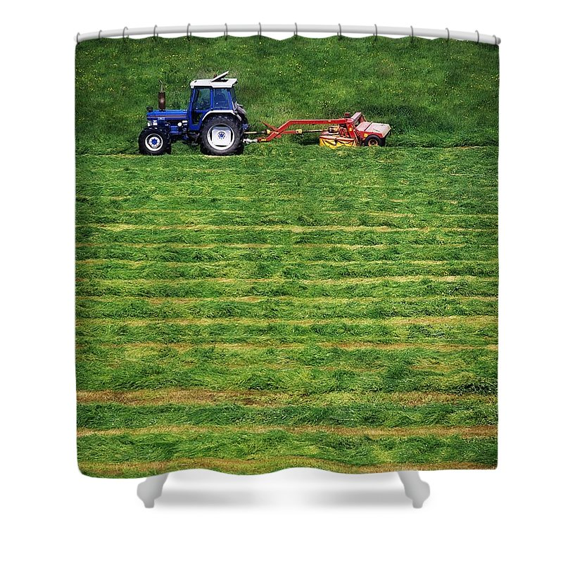 Animal Feed Shower Curtain featuring the photograph Silage Making, Ireland by The Irish Image Collection