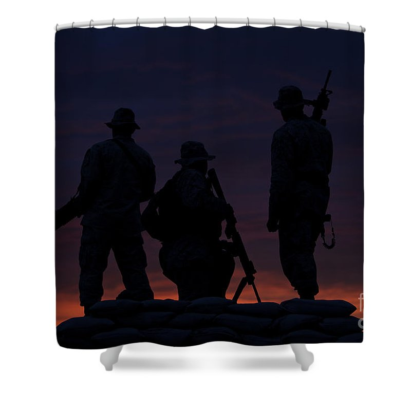 Marine Shower Curtain featuring the photograph Silhouette Of U.s Marines On A Bunker by Terry Moore
