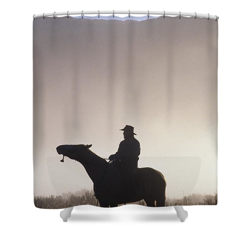 Outdoors Shower Curtain featuring the photograph Silhouetted Cowboy On Horseback In Fog by Natural Selection Craig Tuttle