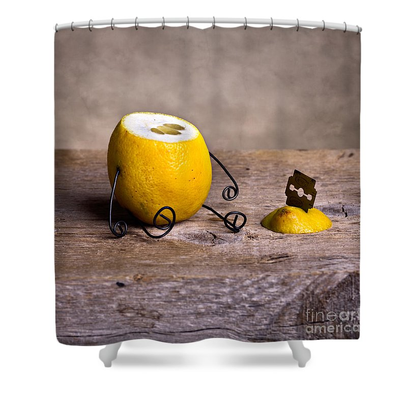 Lemon Shower Curtain featuring the photograph Simple Things 10 by Nailia Schwarz