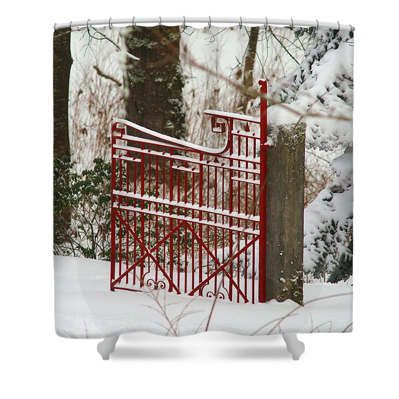 Fences Shower Curtain featuring the photograph Single Red Gate by Randy Harris