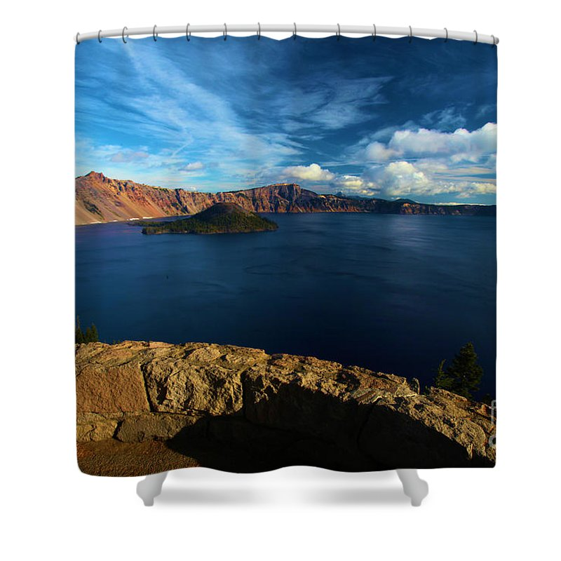 Crater Lake National Park Shower Curtain featuring the photograph Sinott Overlook by Adam Jewell
