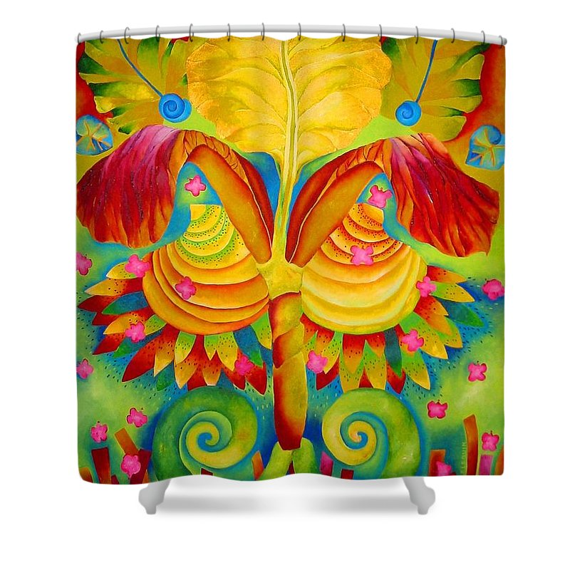 Iris Shower Curtain featuring the painting Siri by Elizabeth Elequin