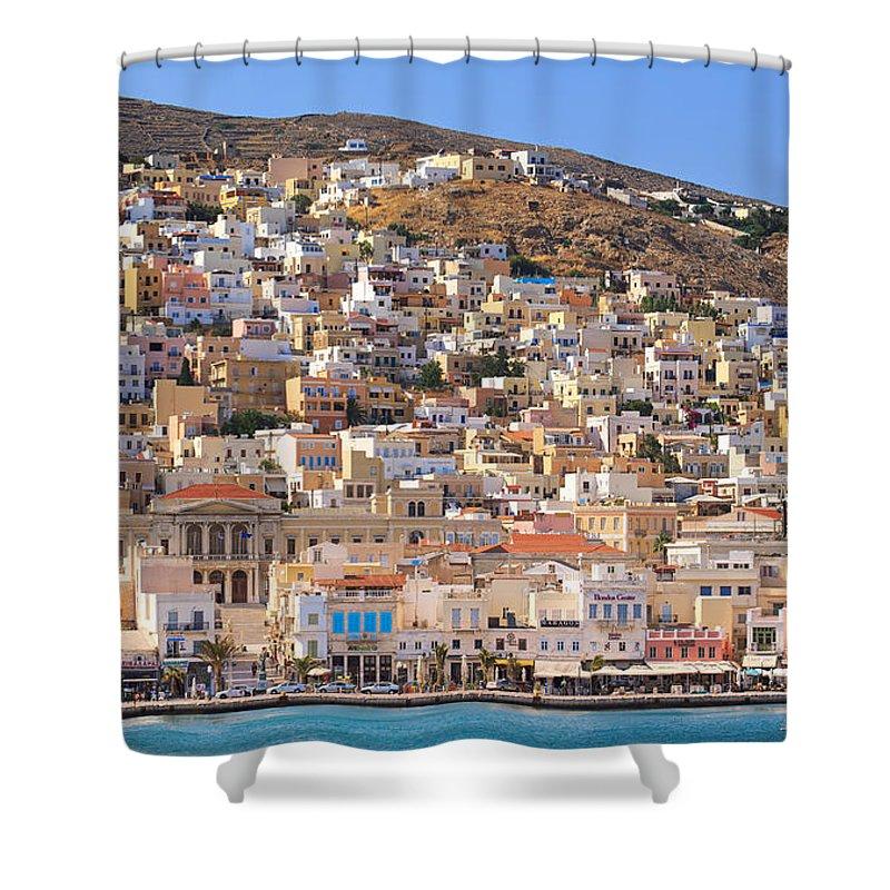 Agios Isidoros Shower Curtain featuring the photograph Siros Greece 2 by Emmanuel Panagiotakis