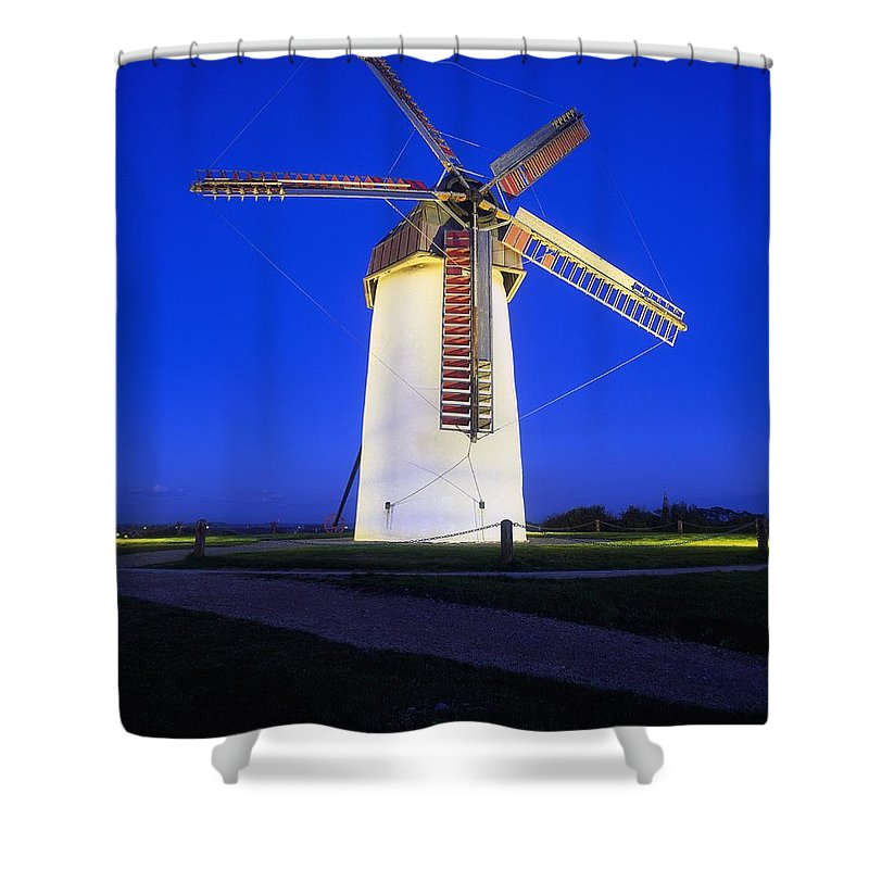 Blue Sky Shower Curtain featuring the photograph Skerries Mills Co Fingal, Ireland by The Irish Image Collection