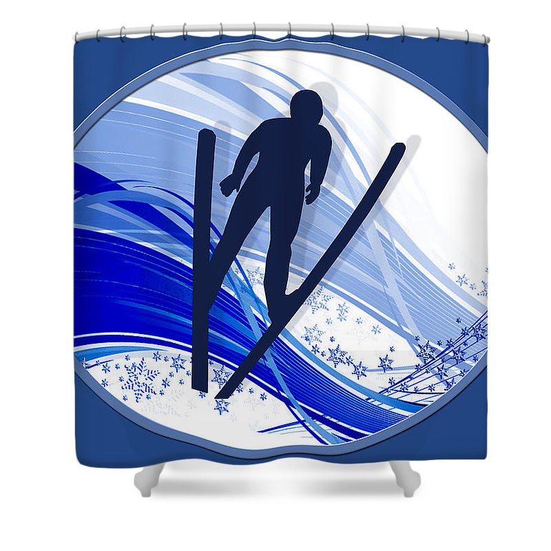 Ski Shower Curtain featuring the painting Skiing And Snowflakes by Elaine Plesser