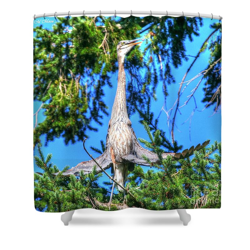 Blue Heron Bird Shower Curtain featuring the photograph Puget Sound Great Blue Heron Skirt Wings by Tap On Photo