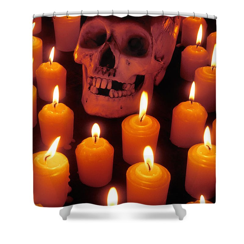 Skull Shower Curtain featuring the photograph Skull And Candles by Garry Gay