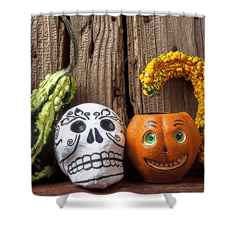 Skull Shower Curtain featuring the photograph Skull And Jack-o-lantern by Garry Gay