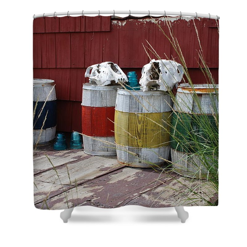 Elizabeth Town Shower Curtain featuring the photograph Skulls On Barrels by Ron Weathers