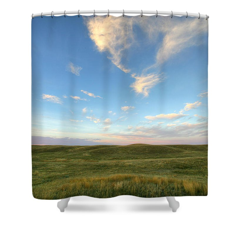 Light Shower Curtain featuring the photograph Sky At Sunset, Grasslands National by Robert Postma