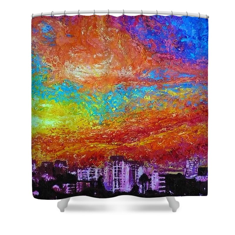 Landscape Shower Curtain featuring the painting Sky over Manga 17 30 by Ericka Herazo