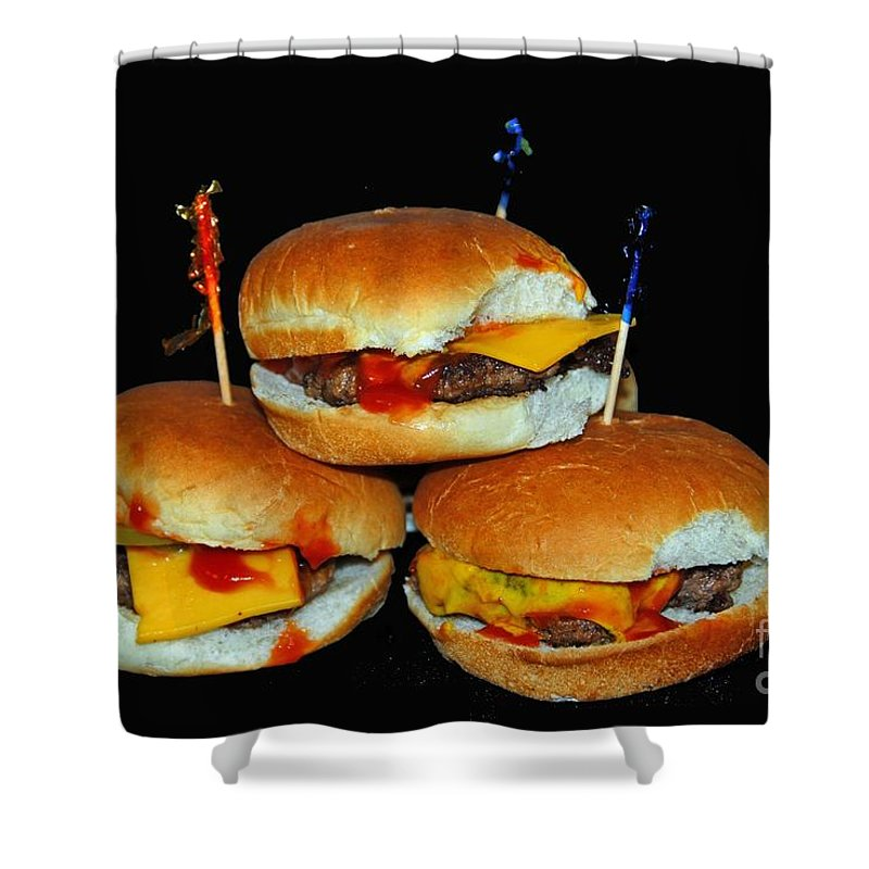 Food Shower Curtain featuring the photograph Sliders by Cindy Manero