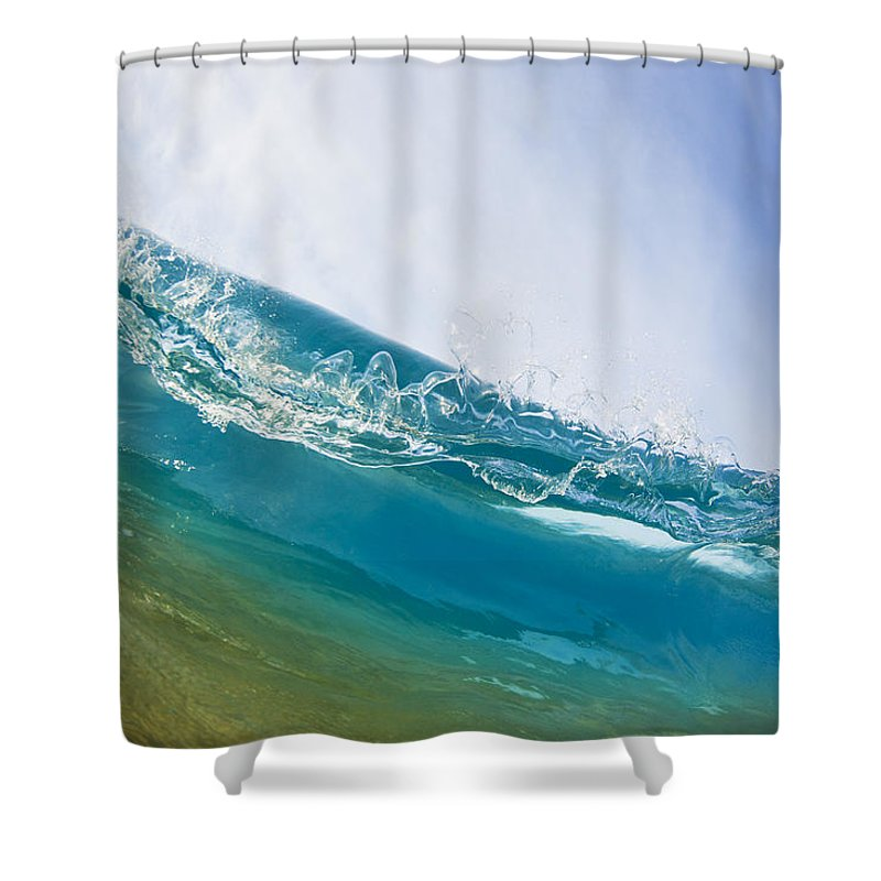 Amazing Shower Curtain featuring the photograph Smooth Wave by MakenaStockMedia - Printscapes