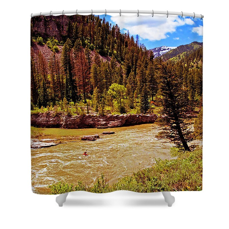 Wyoming Shower Curtain featuring the photograph Snake River And Kayaker by Rich Walter