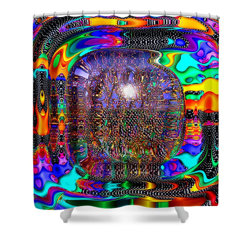 Shiny Shower Curtain featuring the digital art Snakes Alive by Robert Orinski