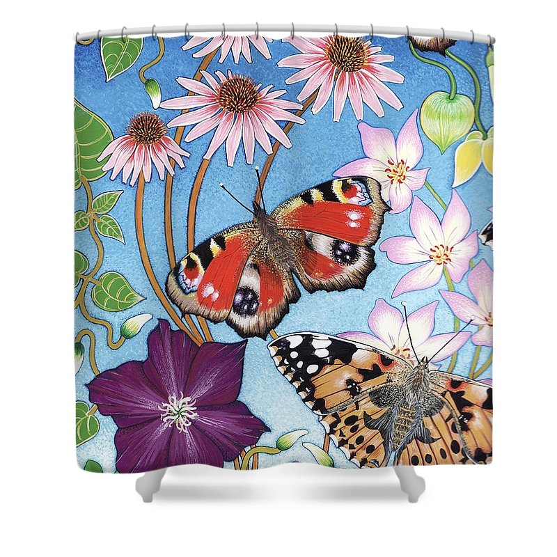 Painted Lady Shower Curtain featuring the painting Snapshot 2 by Isobel Brook Haslam