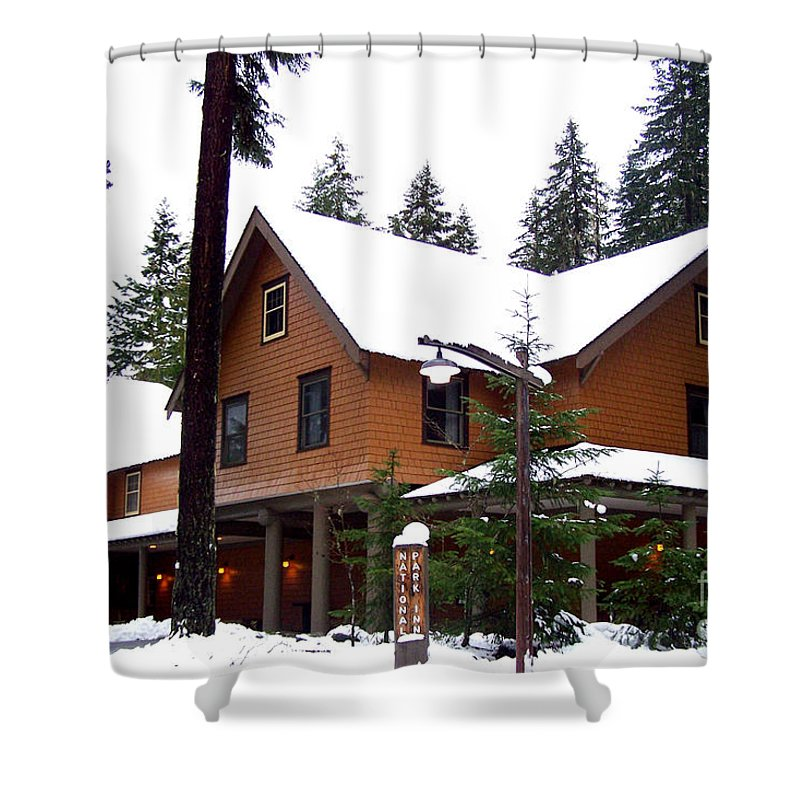 Snow Shower Curtain featuring the photograph Snow Atop The Inn At Longmire by Kathy White