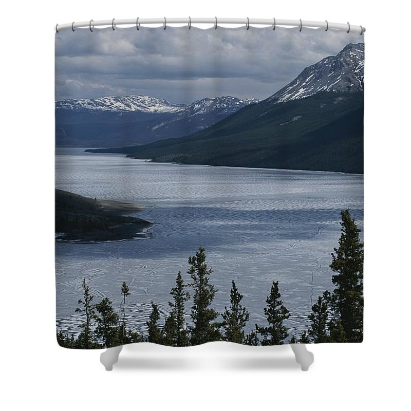 North America Shower Curtain featuring the photograph Snow-capped Moutains Rise by George F. Mobley