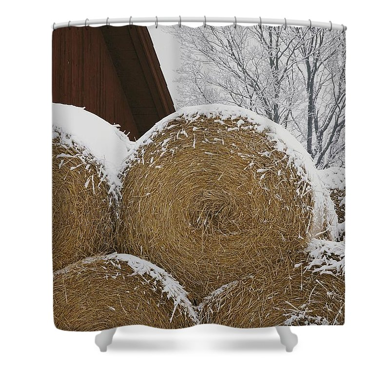 Natural Forces And Phenomena Shower Curtain featuring the photograph Snow Dusts Rolls Of Hay by Mattias Klum