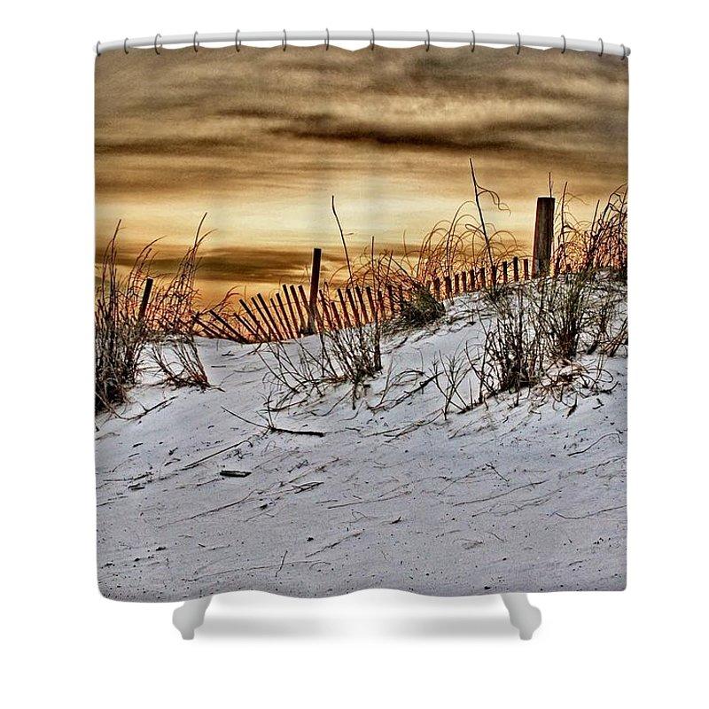 Alabama Photographer Shower Curtain featuring the digital art Snow Fence On Horizon by Michael Thomas
