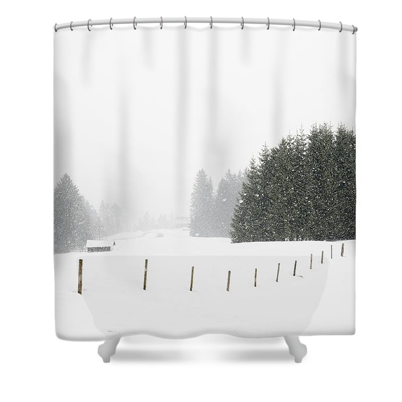 Snowfall Shower Curtain featuring the photograph Snow Is Falling In Winter Landscape by Matthias Hauser