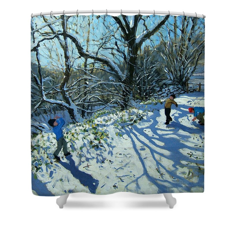 English Landscape; England Shower Curtain featuring the painting Snowball Fight by Andrew Macara