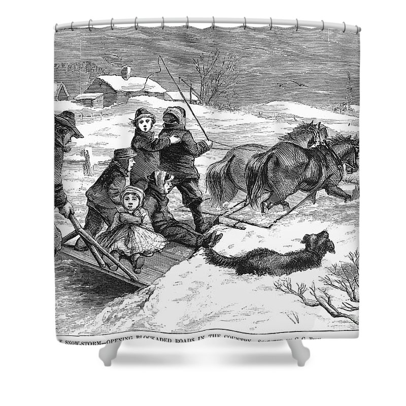 1867 Shower Curtain featuring the photograph Snowstorm In The Country by Granger