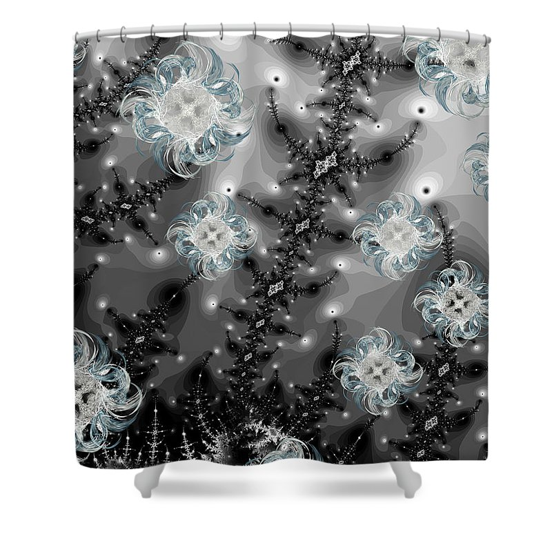 Snow Shower Curtain featuring the digital art Snowy Night II Fractal by Betsy Knapp